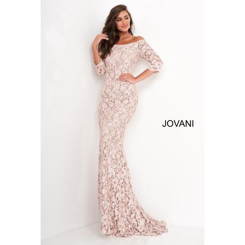 Jovani 03349 Boat Neckline Lace Evening Dress