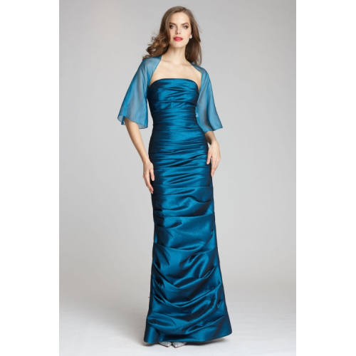 STRETCH RUCHED GOWN WITH BOLERO by Teri Jon at Helen Ainson in Darien CT