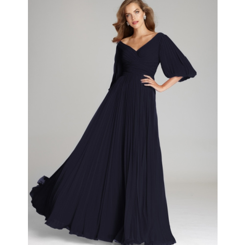 CHIFFON PUFF SLEEVE PLEATED V-NECK GOWN at Helen Ainson in Darien CT