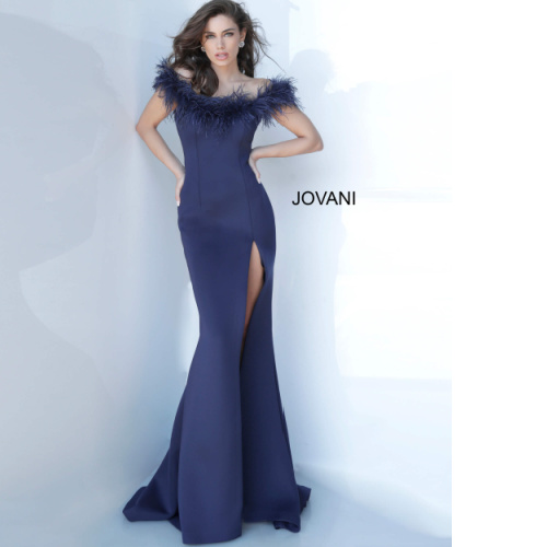 Jovani 2944 Off the Shoulder Feather Neckline Evening Gown at Helen Ainson in Darien CT