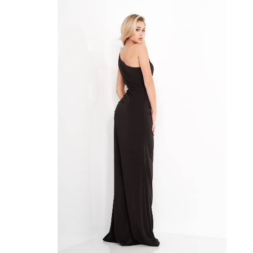 Jovani 4353 Black White One Shoulder Bow Evening Dress at Helen Ainson in Darien CT