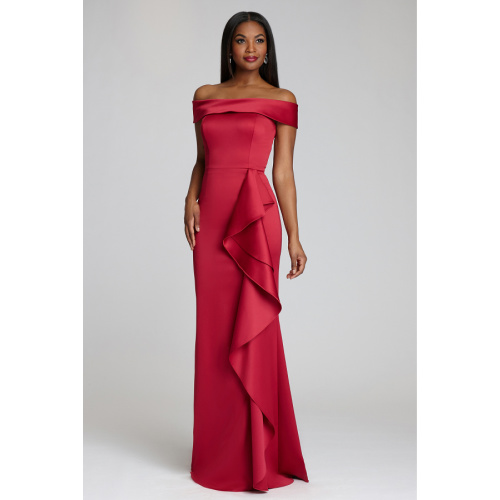 OFF SHOULDER SATIN CREPE GOWN by Teri Jon at Helen Ainson in Darien CT