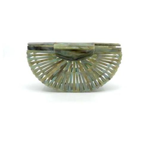 Green/Gold Open Weave Clutch Sea Lily Helen Ainson Darien Ct