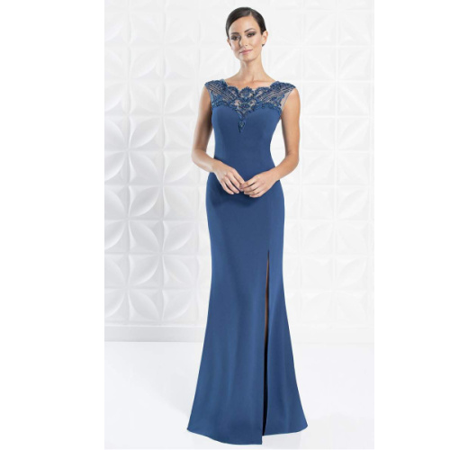 ALEXANDER BY DAYMOR - 1255 EMBELLISHED BATEAU TRUMPET DRESS at Helen Ainson in Darien CT