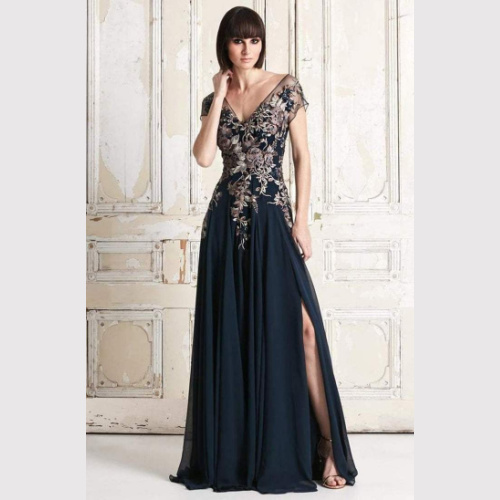 758 FLORAL EMBROIDERED WIDE V-NECK A-LINE DRESS at Helen Ainson in Darien CT
