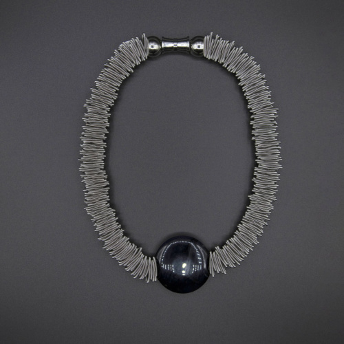 S86B - Silver spring ring necklace with black jade disc by Sea Lily at Helen Ainson