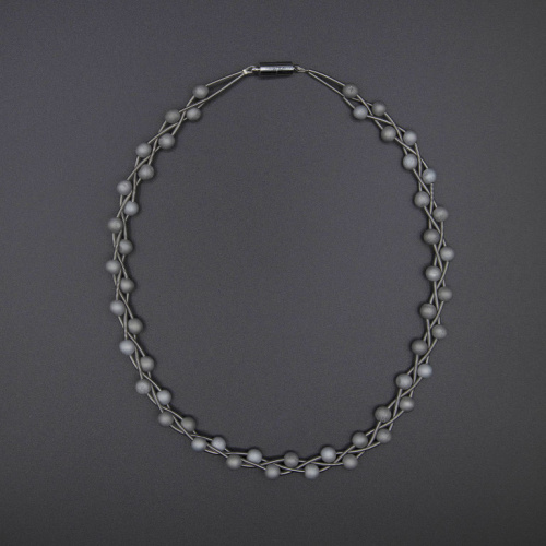 Silver braided piano wire necklace with silver geodes at Helen Ainson in Darien CT sea lily s90a