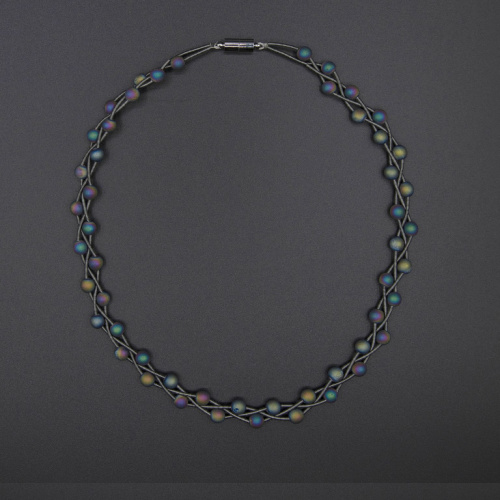 S90C - Slate braided piano wire necklace with iridescent geodes at Helen Ainson in Darien