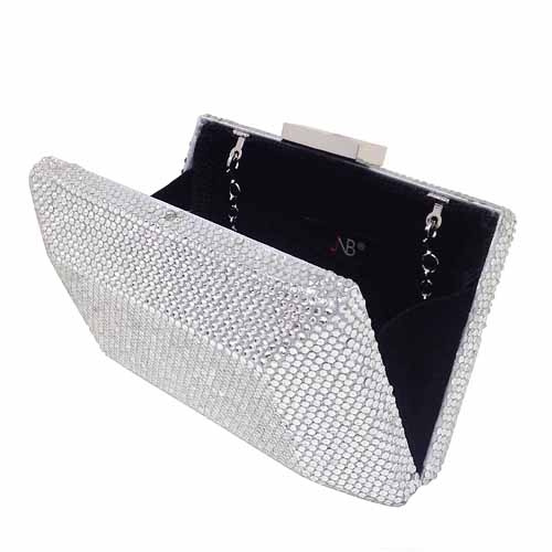 """Evening clutch EHC9335BK 1 Square Crystal Minaudiere *6.5"""" x 4"""" x 2"""" at Helen Ainson in Darien Ct"""