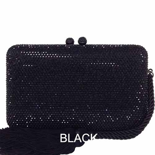 "EHC9338BLACK 1 Crystal Evening Minaudiere with Tassel *7"" x 4.25"" x 1.5"" Mother of the bride At Helen Ainson in Darien Ct"