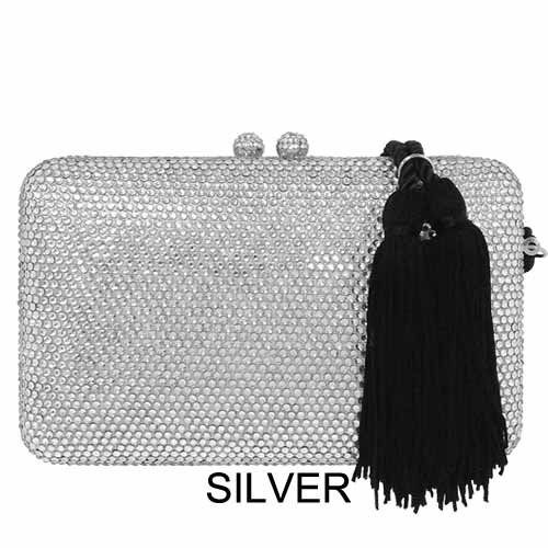 """EHC9338 5d88bfbda0013 EHC9338BLACK 1 Crystal Evening Minaudiere with Tassel *7"""" x 4.25"""" x 1.5"""" Mother of the bride At Helen Ainson in Darien Ct"""