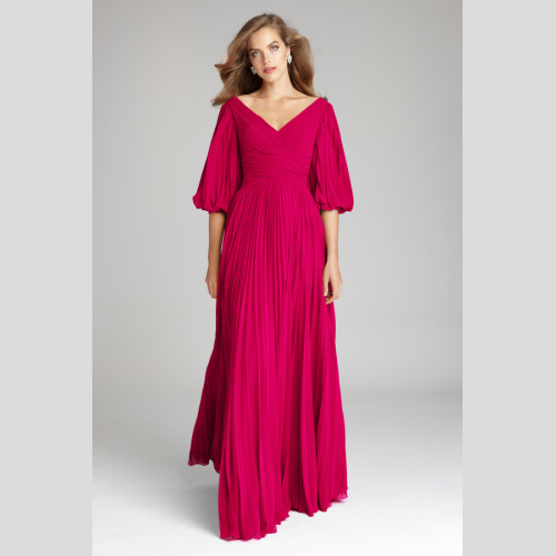 CHIFFON PUFF SLEEVE PLEATED V-NECK GOWN by Teri Jon style 209098 mother of the bride at Helen Ainson in Darien CT