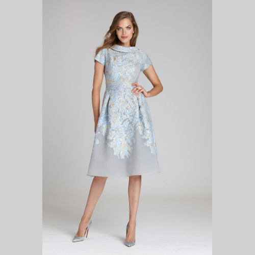 teri jon 96210LBM ROLL NECK CAP SLEEVE METALLIC JACQUARD DRESS at Helen Ainson