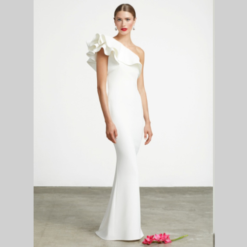 FRASCARA #3620 One Shoulder Gown Custom made at Helen Ainson in Darien CT