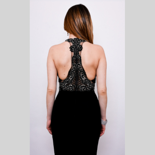 Sabaroma Black beaded gown 4368 for mother of the bride or groom or balck tie