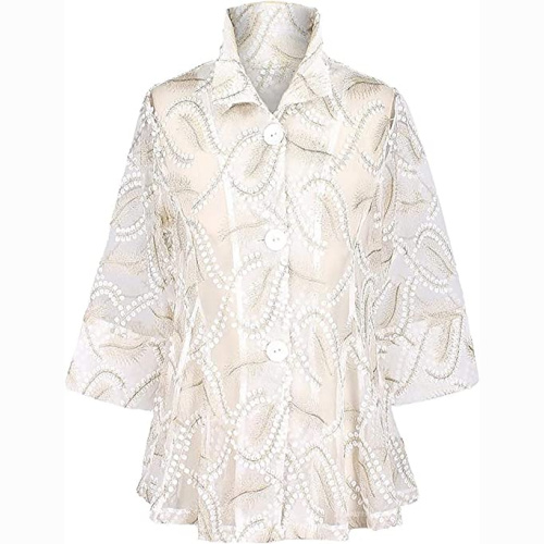 Damee Petals and Gold Embroidered Mesh Jacket