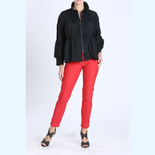 IC Collection Shirred Sleeve Zip-Up Blouson Jacket style 1395J at Helen Ainson in Darien CT