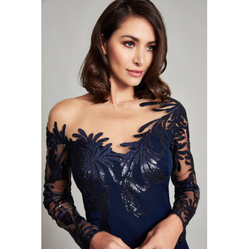 Tadashi Asymmetrical Floral Gown