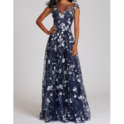 Embroidered Lace Illusion Gown