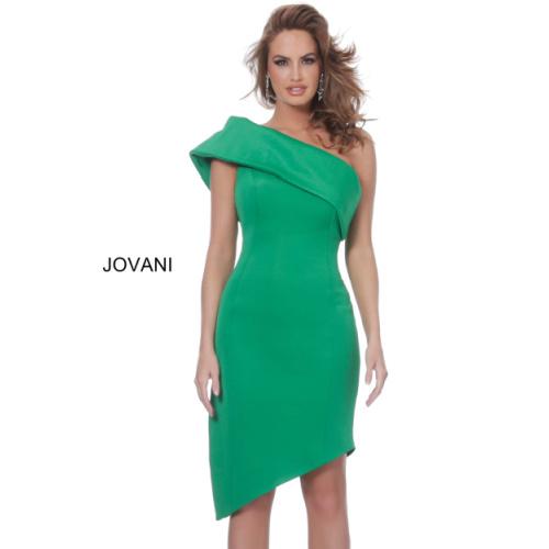 Jovani 4747 Green One Shoulder Asymmetrical Cocktail Dress