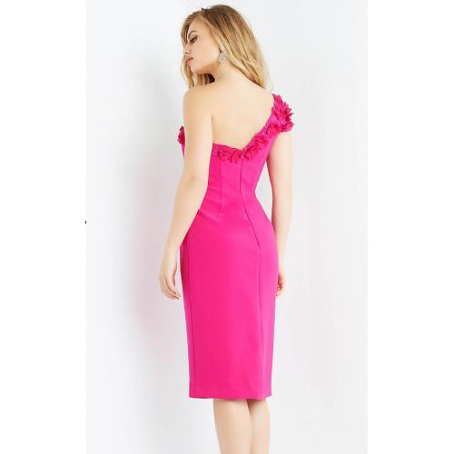Jovani 06824 Fuchsia One Shoulder Sheath Cocktail Dress