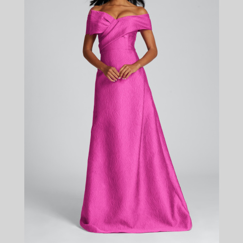 teri jon 219000 OFF SHOULDER JACQUARD GOWN WITH CROSS FRONT BOW