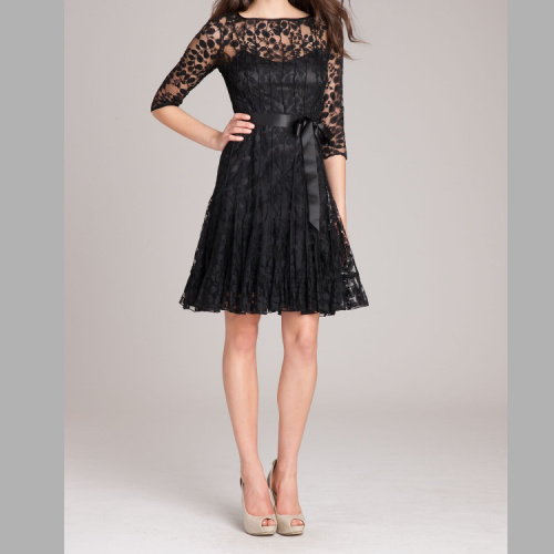 3/4 SLEEVE LACE FIT AND FLARE WITH BOW