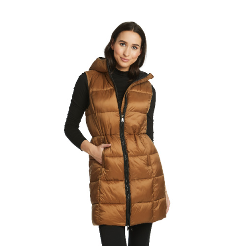 Gold Puffy Long Vest
