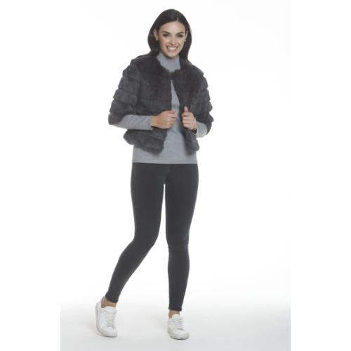 Metric Knits Cropped Fur Jacket