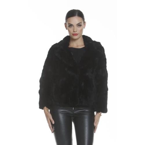 Metric Knits Collared Fur Jacket