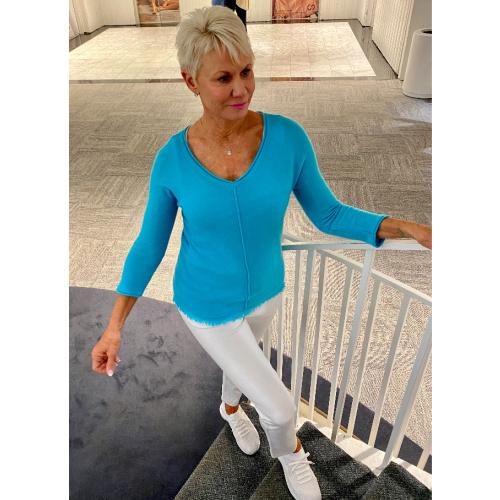 Pure Amici V-Neck Fringe Sweater