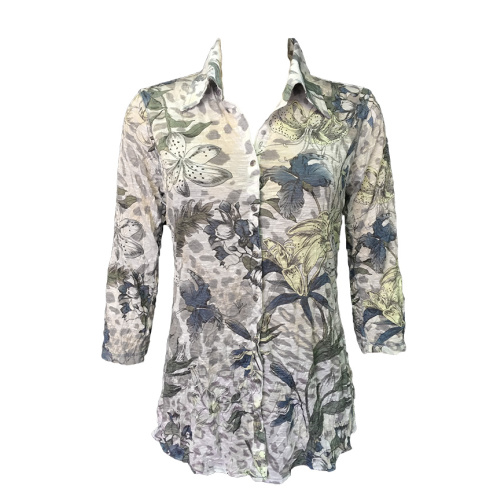 Printed Collared Button Up Top